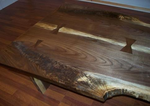 bookmatched, slab rustic walnut coffee table, ted frumkin, nakashima style
